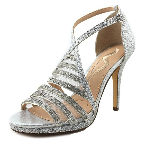 Nina Romolo Women Open Toe Canvas Silver Sandals