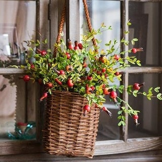 """G Home Collection Rustic Artificial Small Pomegranate Fruit Stem 23"""" Tall"""