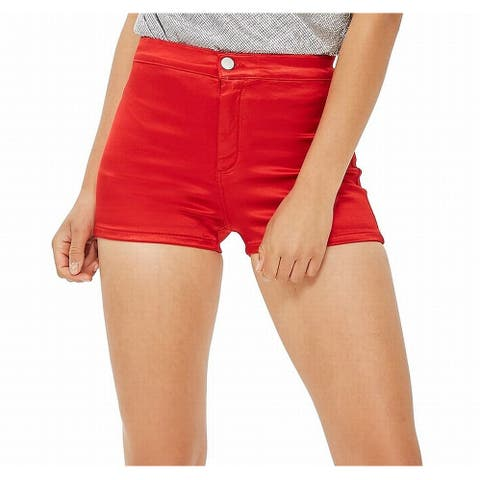 Topshop Women's Red Size 6 (UK 10) High Waist Super Stretch Joni Shorts
