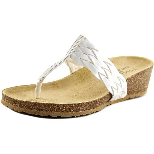 Easy Street Bene Women WW Open Toe Synthetic White Thong Sandal
