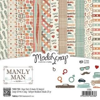 "Elizabeth Craft Modascrap Paper Pack 6""X6"" 12/Pkg-Manly Man"