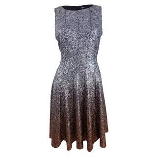 Msk Women's Glitter Ombre Metallic Fit & Flare Dress - black/silver copper