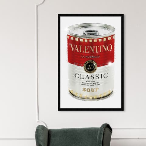 Oliver Gal 'Rockstud Soup' Fashion and Glam Framed Wall Art Prints Soup Can - Red, White