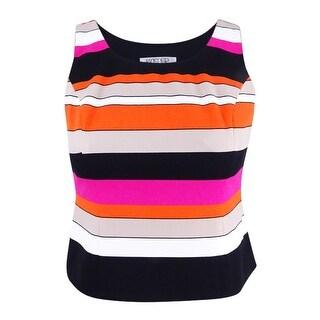 Kasper Women's Petite Striped Scuba Top - pink perfection multi