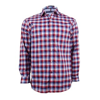 Tommy Hilfiger Men's Slim-Fit Non-Iron Check Dress Shirt (16 1/2 32-33 Blue/Red) - Blue/Red - 16 1/2 32-33