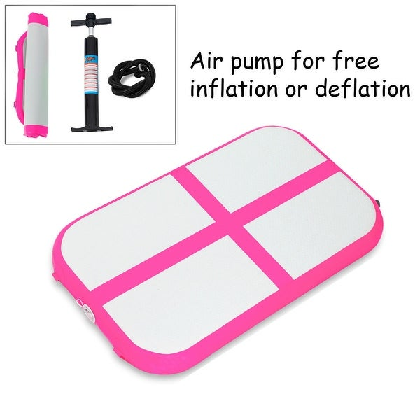 Goplus 3.3' Inflatable Gymnastics Mat Air Track Floor Mat Water Buoyancy with Pump Pink
