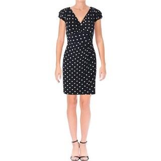 Lauren Ralph Lauren Womens Petites Casual Dress Flutter-Sleeve Polka Dot