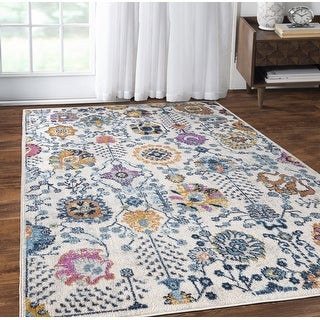 Link to Jewel Collection Distressed Vinatage Boho Chic Ivory Area Rug by Mod-Arte Similar Items in Transitional Rugs