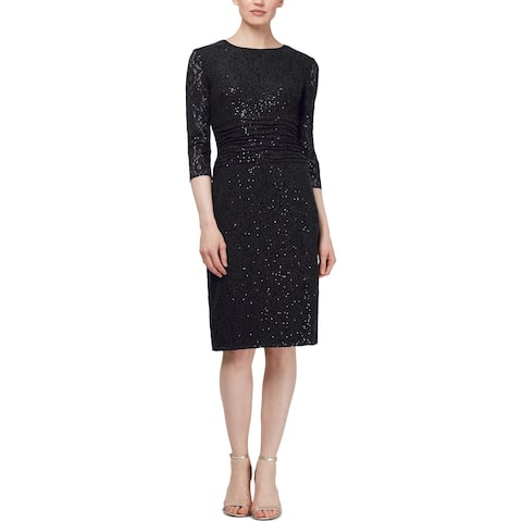 SLNY Womens Cocktail Dress Sequined Round Neck