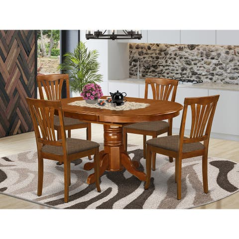 5-piece Set - Oval Dinette Table with Leaf and 4 Dining Chairs in Saddle Brown Finish