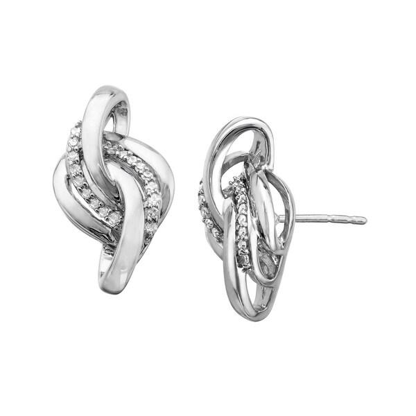 1/6 ct Diamond Knot Earrings in Sterling Silver