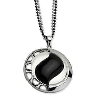 Chisel Stainless Steel Polished & Black Onyx Pendant 24 Inch Double Chain Necklace (2 mm) - 24 in
