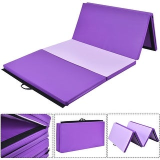 Costway 4'x10'x2'' Gymnastics Mat Thick Folding Panel Gym Fitness Exercise Mat PurplePink