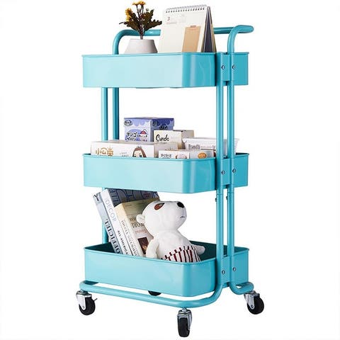 3-Tier Home Kitchen Storage Utility cart with handle