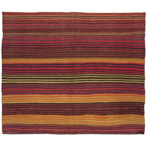 ECARPETGALLERY Flat-weave Bohemian Dark Red Wool Kilim - 6'2 x 8'9