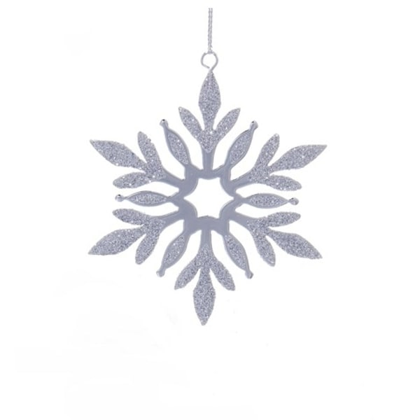 "4"" Decorative Metal Silver Snowflake with Small Star Center Hanging Christmas Ornament"