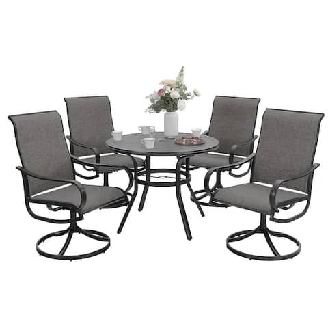 """Sophia & William Patio Dining Set 5 Pieces, 4 Patio Dining Chairs Textilene, 1 Round 37.8"""" Diameter Metal Umbrella Table"""