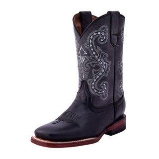 Ferrini Western Boots Boys Girls Stitching Block Black Gray 71293-49