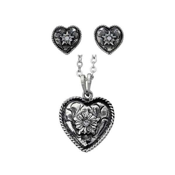 Bar V Western Womens Necklace Earrings Heart Rope Set Silver 310-252