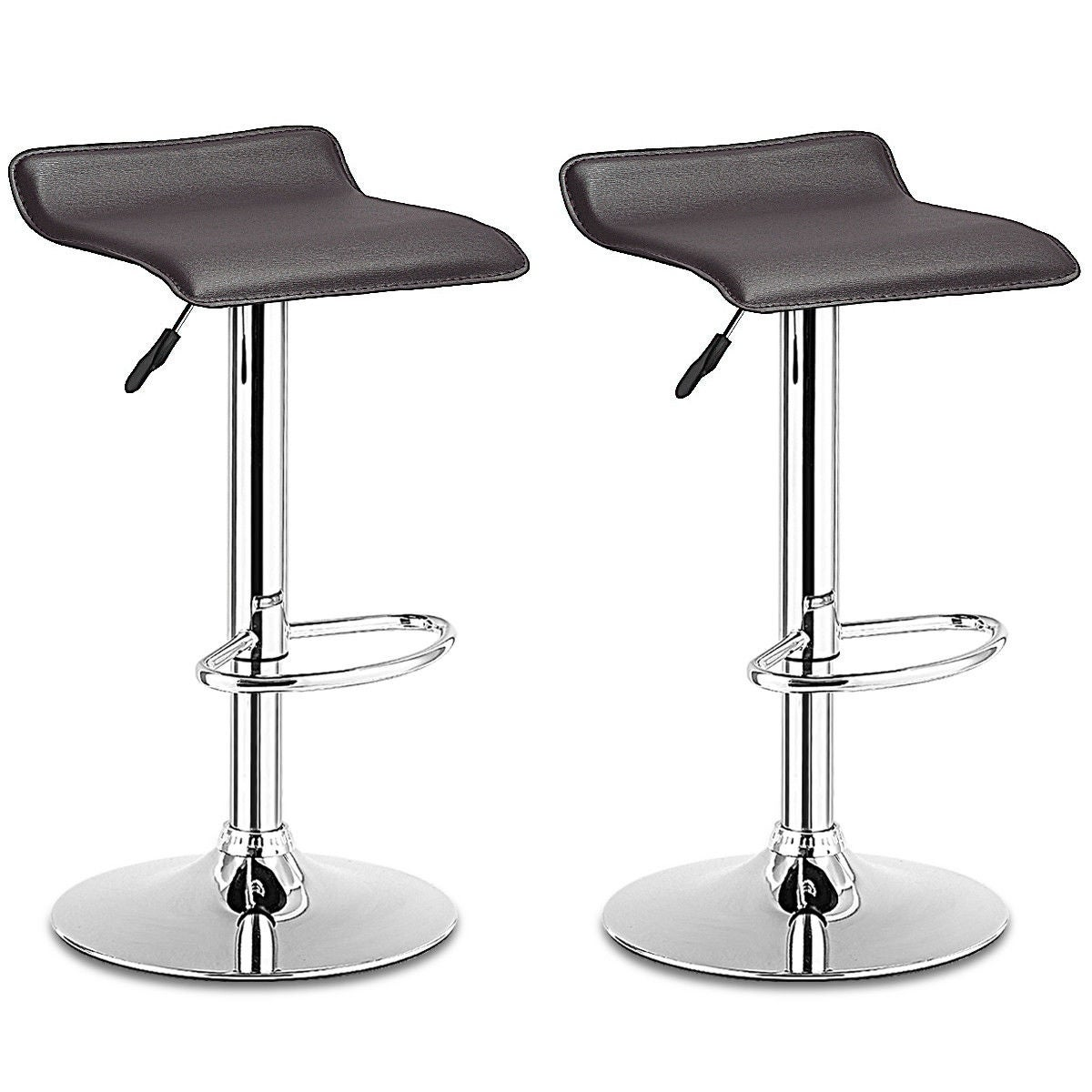 Costway Set Of 2 Swivel Bar Stools Adjustable PU Leather Backless Dining Chair Brown