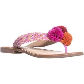 62fc9cda96f42 callisto Pomm Weaved Pompom Thong Sandals