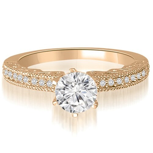 0.95 cttw. 14K Rose Gold Antique Milgrain Round Diamond Engagement Ring