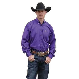 Cinch Western Shirt Mens L/S Button Down Solid Purple