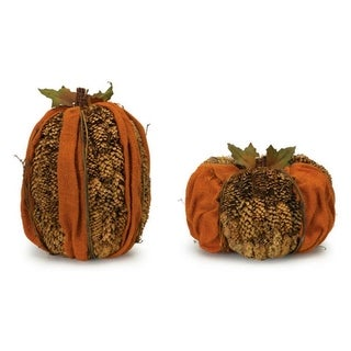 """Pack of 2 Orange and Brown Pine Cone Pumpkin Table Top Decorations 7""""- 9"""""""