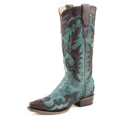 """Stetson Western Boot Women Cora Underlays 13"""" Blue"""