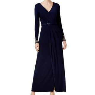 Vince Camuto NEW Navy Blue Womens Size 4 Faux-Wrap Belted Maxi Dress