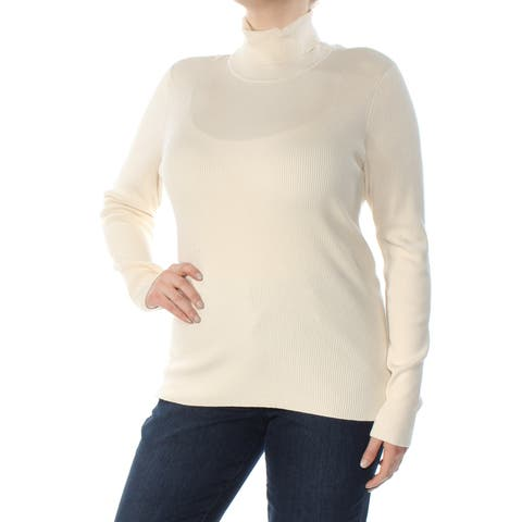 RALPH LAUREN Womens Ivory Ribbed Long Sleeve Turtle Neck Sweater Size: XXL