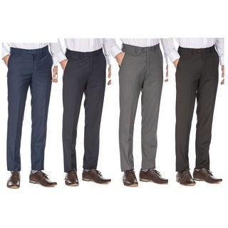 Porto Filo Men's Slim Fit Dress Pants (Black, Navy, Indigo, Charcoal, Gray)