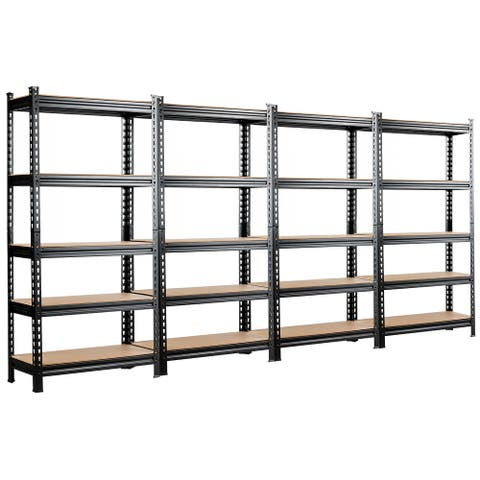 Costway 2/3/4 PCS 5-Tier Metal Shelves 60'' Garage Rack Adjustable