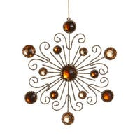 "6"" Royal Symphony Bronze Gold Glittered and Jeweled Snowflake Christmas Ornament"