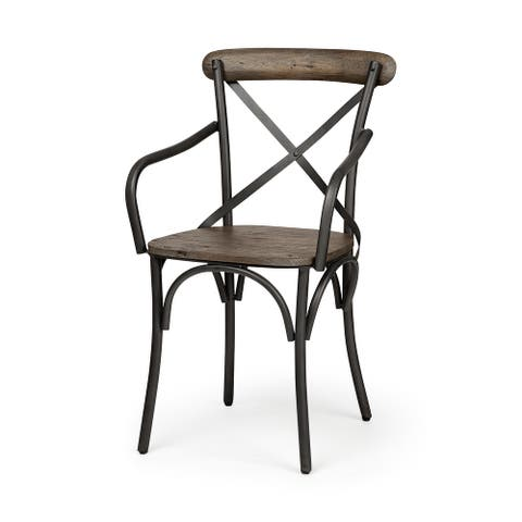 Mercana Etienne II Brown Solid Wood Seat Grey Iron Frame Dining Chair - 20.0L x 18.0W x 35.5H