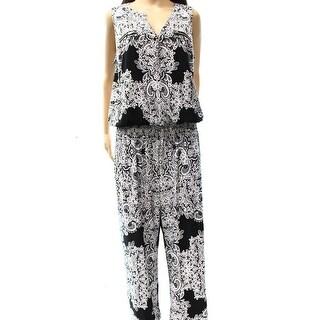 INC NEW Black Women's Size Large L Printed Wide Leg Smocked Jumpsuit