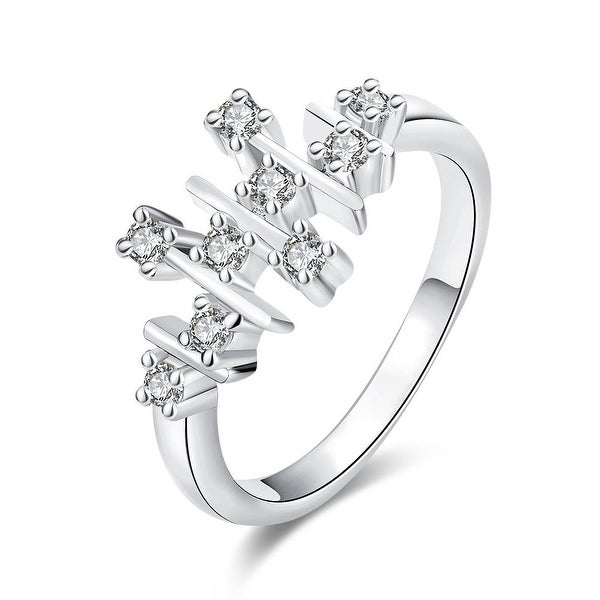 Horizontal Lined White Gold Ring