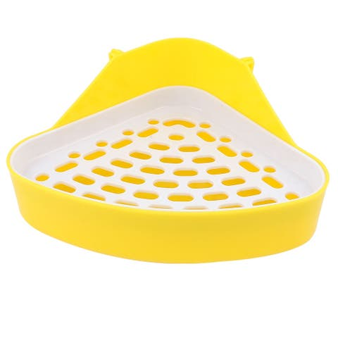Yellow White Ellipse Grid Layout Triangle Indoor Pet Toilet