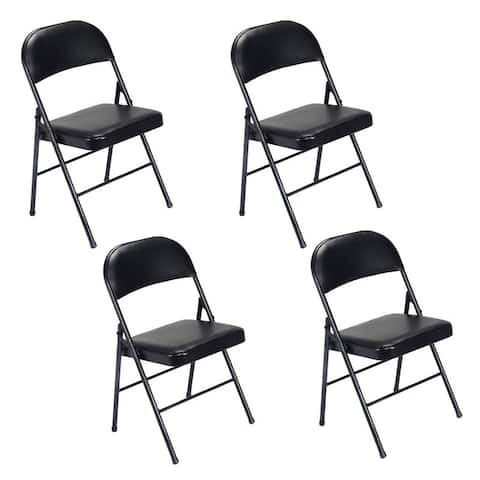 Folding Chairs with Leather Padded Seats Black 4-Pack