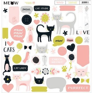 "Meow Chipboard Elements 12""X12""-"