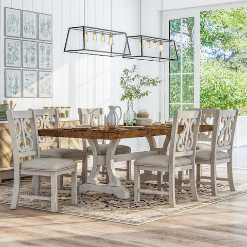 Furniture of America Sylmer Country White 7-piece Dining Set