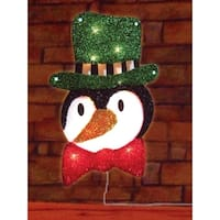 "16"" Lighted Tinsel Penguin in Top Hat Christmas Window Silhouette Decoration - multi"