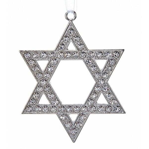 Silver Star Of David with Rhinestones Jewish Holiday Ornament