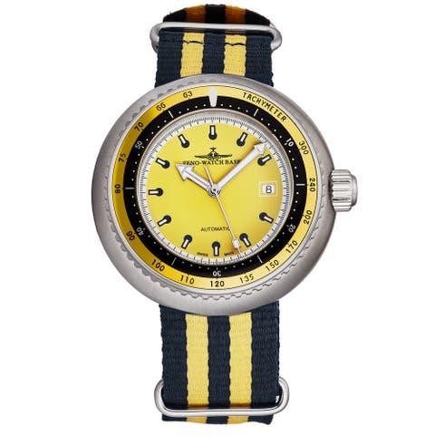 Zeno Men's 500-2824-I9 'Divers' Yellow Dial Yellow/Blue Striped Fabric Strap Automatic Watch