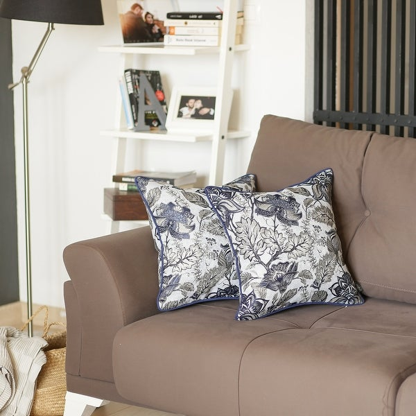 Porch & Den August Blue Jacquard Throw Pillow Cover. Opens flyout.