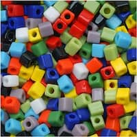 Miyuki 4mm Glass Cube Beads Color Mix Opaque Rainbow 10 Grams
