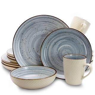 Link to Elama Embossed Dot Two Tone 16-Piece Dinnerware Set in Powder Blue Similar Items in Dinnerware