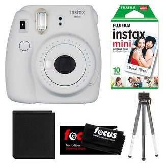 Fujifilm Instax Mini 9 (Smokey White) w/ Instax Film Essential Bundle