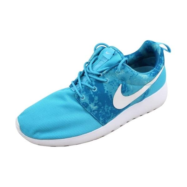 Nike Women's Rosherun Print Clearwater/White-Dark Electric Blue 599432-414