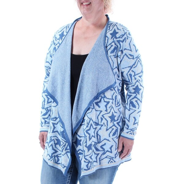 afbc976dabf8f Shop Womens Blue Long Sleeve Open Cardigan Casual Trapeze Sweater ...